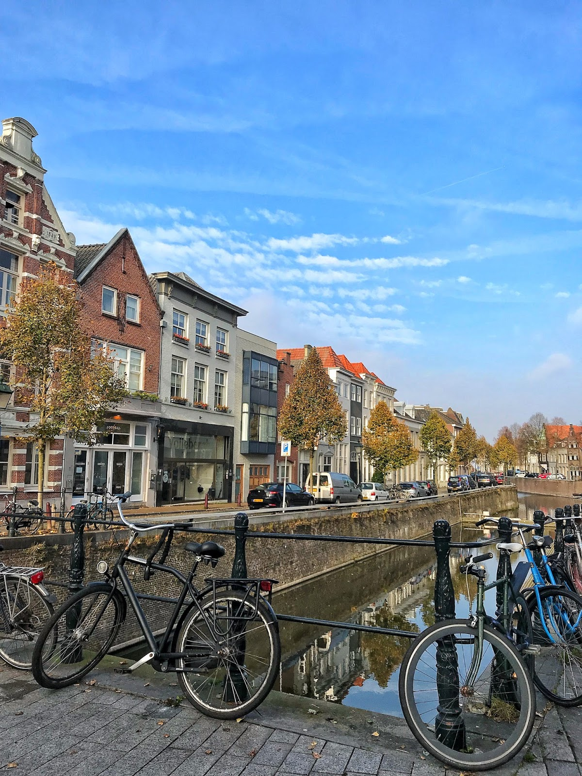 bikes and canal reflections Autumn in Den Bosch