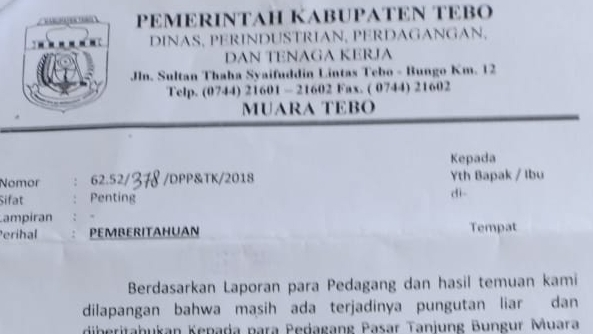 Beredar Warning Disperindag Tebo Terkait Pungli Pasar