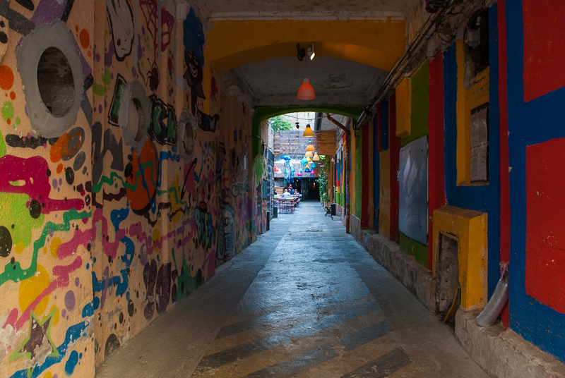 Lovely alley decoration before the ruin bars in budapest