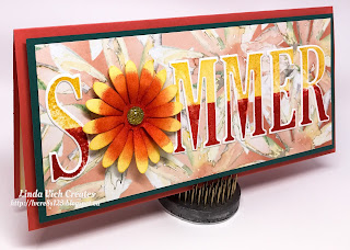 Linda Vich Creates: Summer Daisy. Masking technique used to create two-toned letters on this Delightful Daisy summer card!