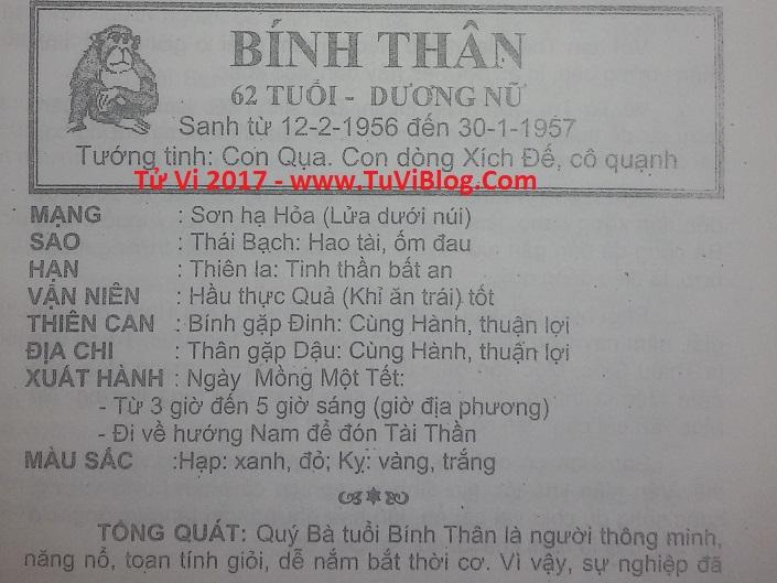 Tu vi 2017 Binh Than 1956 nu mang