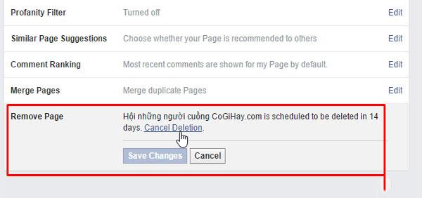Click vao cancel deletion