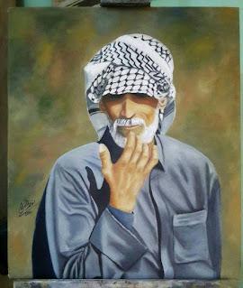 رسم زيت رجل عراقي