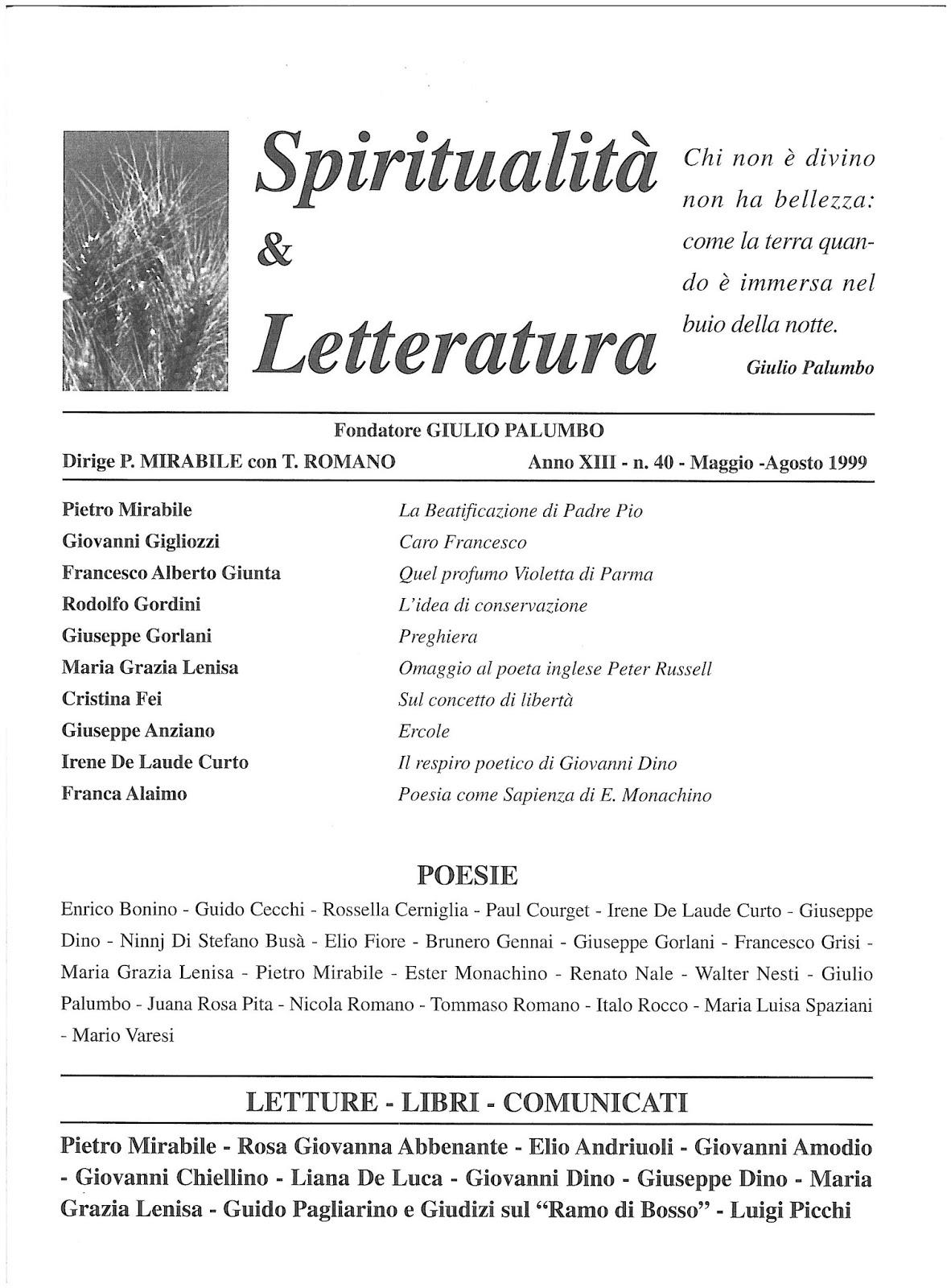 Recuperi/40 - AA.VV., Spiritualità & Letteratura, n. 40