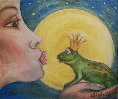 #AideLL #mixed media #frog art #kissing frog #full moon #princess #Fairy tale #illustration #nursery art