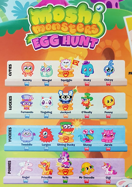 Poster Moshi Monsters Egg Hunt Moshling types - Cuties, Luckies, Yukkies and Ponies