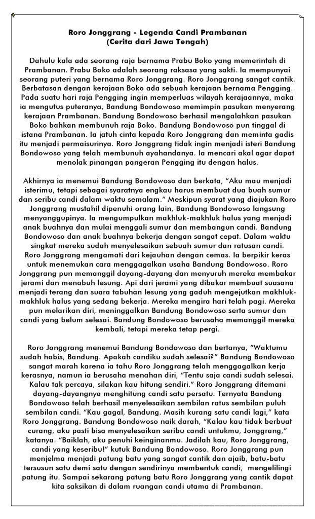 cerita legenda roro jongrang candi prambanan