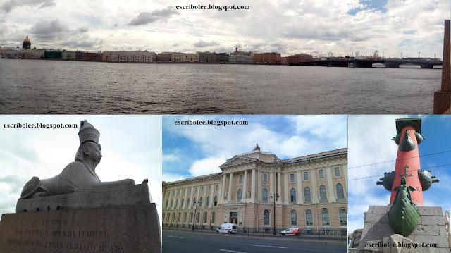 Viaje a Rusia: San Petersburgo: Panorámica, Muelle de las Esfinges, Universidad, Columnas Rostrales