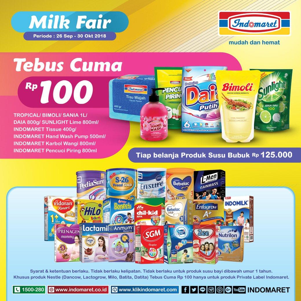 Indomaret - Promo Milk Fair & Tebus Priduk cuma 100 Rupiah (s.d 30 Otk 2018)