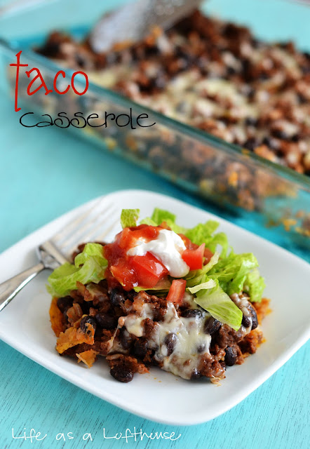 Light Taco Casserole is filled with ground beef, black beans, salsa, cheese and tortilla chips. Life-in-the-Lofthouse.com