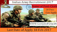 Indian Army Recruitment 2017 –Lower Division Clerk