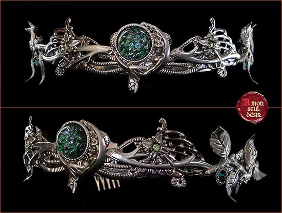 couronne argent lune vert végétale florale déesse de la nuit wiccan magie blanche tiare diadème