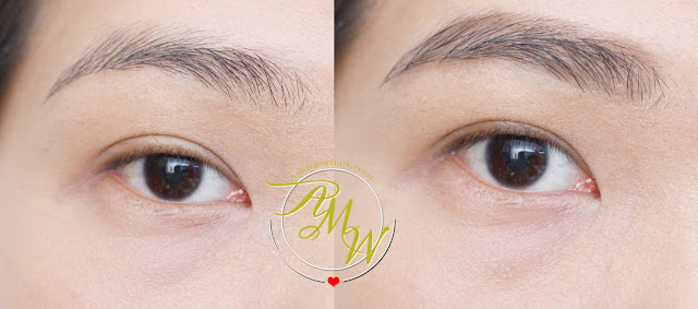 a before and after photo of CLIO Tinted Tattoo Kill Brow Tattoo Pen
