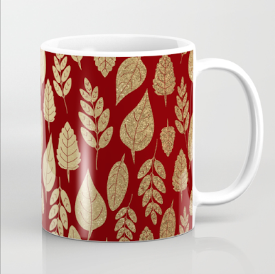 Gold and red leaf pattern mug