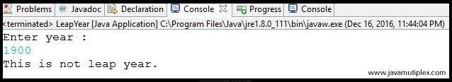 Output of Java program that check whether given year is leap year or not - case 1