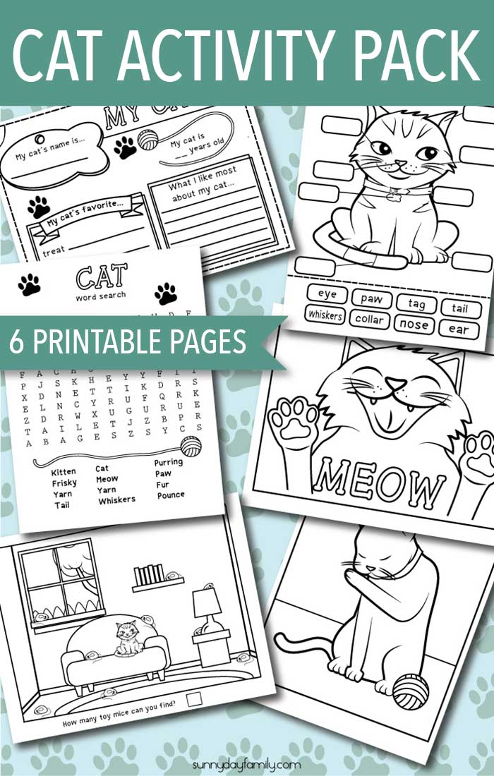 A printable pack that's all about cats! Cat activities, cat coloring pages, and an all about my cat page your kids will love. Perfect for a preschool pets theme, a cat birthday party, or just for fun.