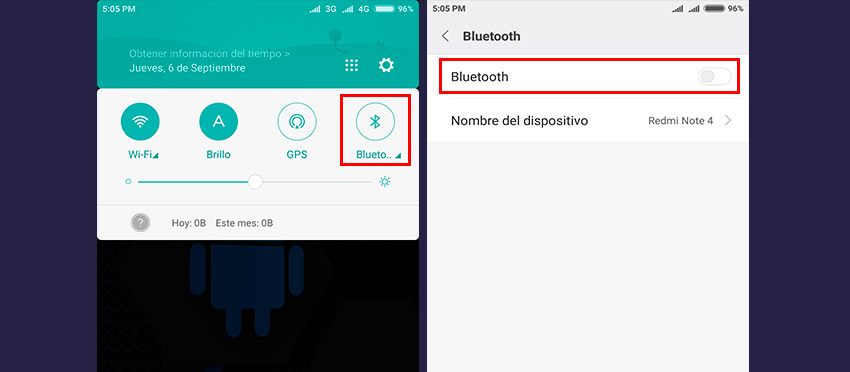 desactivar bluetooth en android