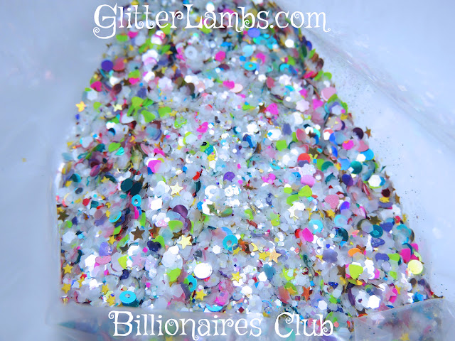 Our Billionaires Club loose glitter mix is LOADED! It has SO MANY GLITTERS IN THIS!!!!!!! If you love glitter in all shapes and sizes then glitter mix is JUST FOR YOU!!!!!!  What's in this mix: Mix of Neon Hex Different sizes Holographic Red, Blue, Green Hex Mix Red and White Hex Mix Iridescent Hex  Gold and Silver Hex Mix Yellow Hex  Light Pink Hex  Neon Pink Hearts White Hearts Gold Holographic Dots Violet Holographic Dots  Turquoise Holographic Dots Red Dots Blue Dots White Hex Light Pink Hearts Purple Hearts Light Pink Stars Pink Daisies Light Blue Hearts Pink Holographic Dots  Lavender Daisies Blue Circles White Circles Pink Hex Mix Turquoise Shreds Gold Holographic Stars Lime Green Hearts Mini Blue Stars Gold Holographic Stars Lime Green Micro Glitter Emerald Green Micro Glitter Silver Dots Silver Holographic Hex Red Micro Holographic Hex Pink Micro Holographic Hex Blue Micro Holographic Hex Green Micro Holographic Hex Neon Red Micro Hex Neon Blue Micro Hex Neon Green Micro Hex Tiny Pink Squares Tiny Blue Squares Tiny Rainbow Flakies