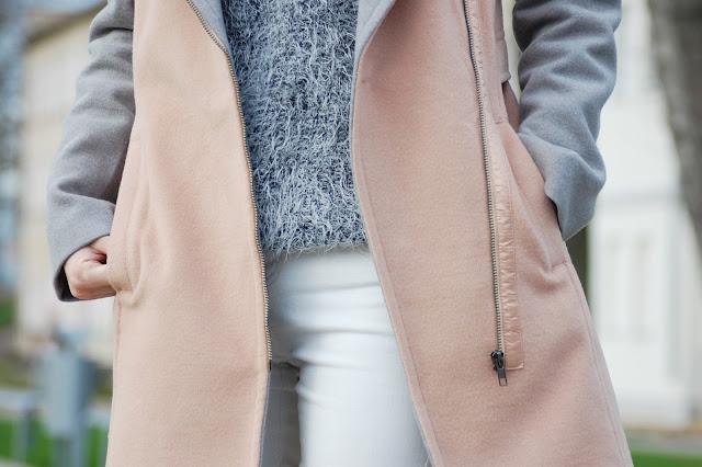 kremowo - szary płaszcz