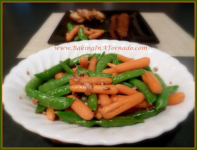 Pralined Snap Peas and Carrots | www.BakingInATornado.com | #recipe #vegetables