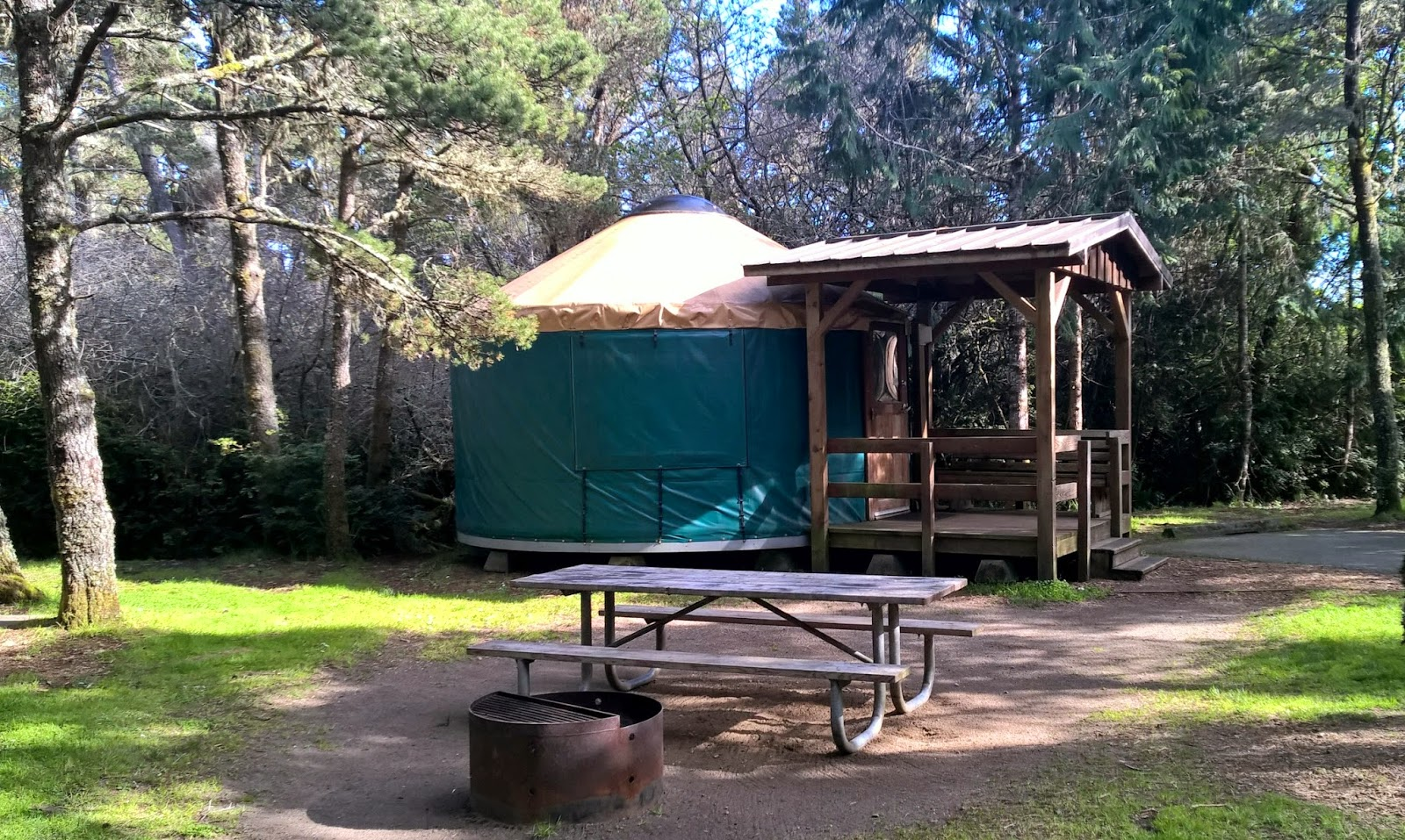 A Yurt The Covering Is Heavy Canv Plastic With Domed Skylight At Top Each Site Comes Porch Picnic Table And Fire Ring