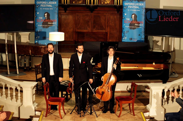 Phoenix Piano Trio (Sholto Kynoch, Jonathan Stone, Christian Elliott) at the 2016Oxford Lieder Festival - photo Tom Herring