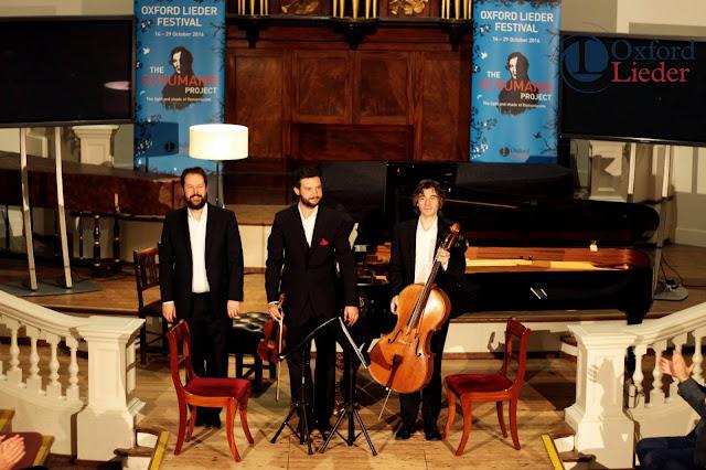 Phoenix Piano Trio (Sholto Kynoch, Jonathan Stone, Christian Elliott) at the 2016Oxford Lieder Festival - photo Tom Herring