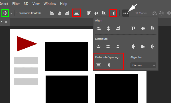 Distribute%2Bspacing%2Boptions%2Bwith%2BMove%2Btool%2Bactive Distribute Layers (Objects) With Even Spacing in Photoshop CC 2019 templates