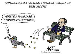 berlusconi, riabilitazione, peso politico, politica, forza italia, vignetta, satira