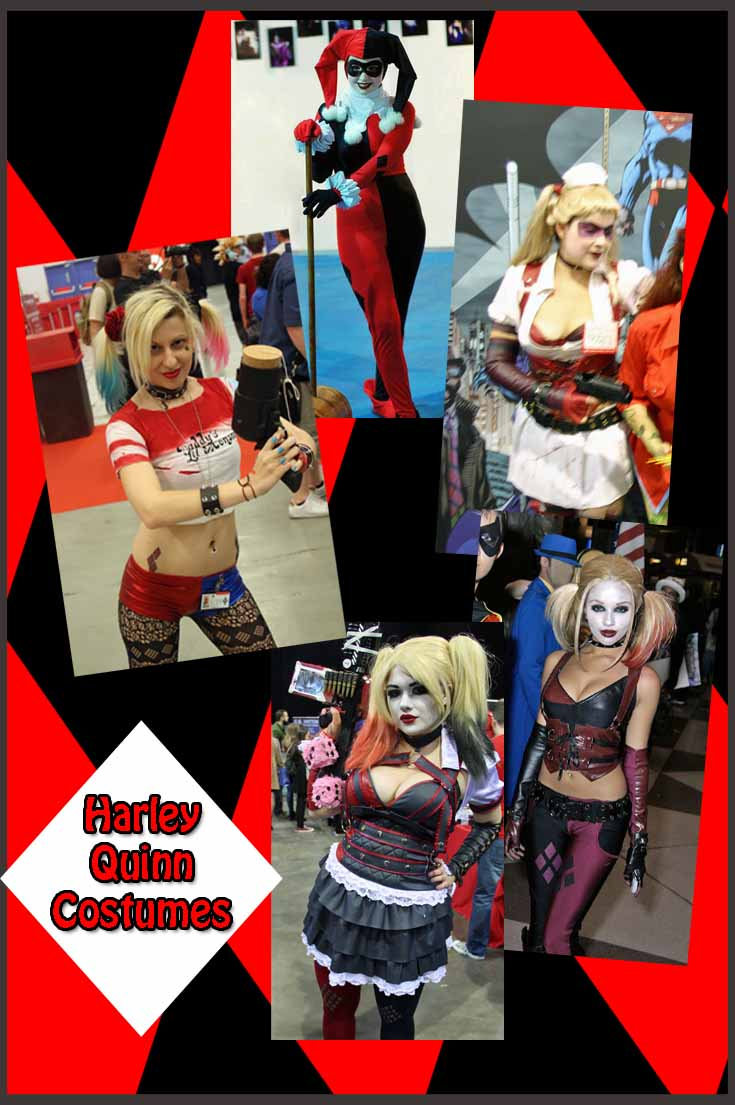 Collection of Harley Quinn Halloween Costumes through the years