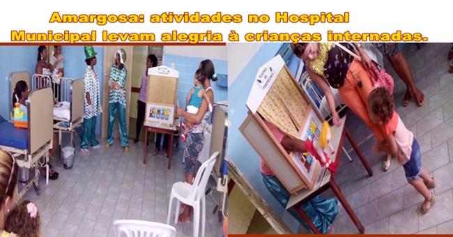 Atividades lúdicas no Hospital Municipal de Amargosa levam alegria à crianças internadas.