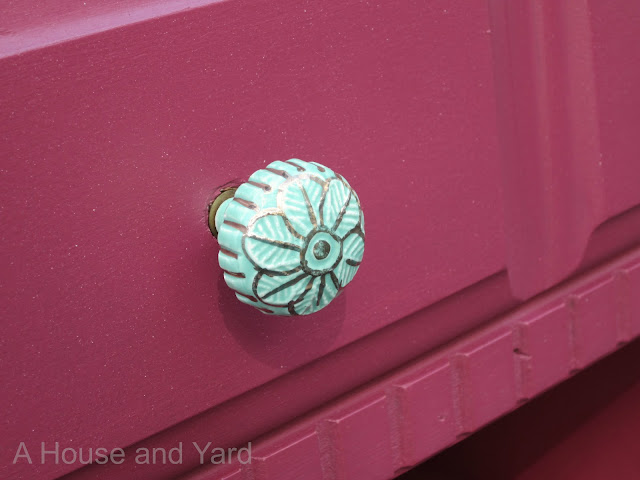 A House And Yard Painted Nightstand