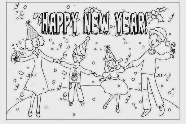 happy New year festival celebrate children-colorable image for drawing