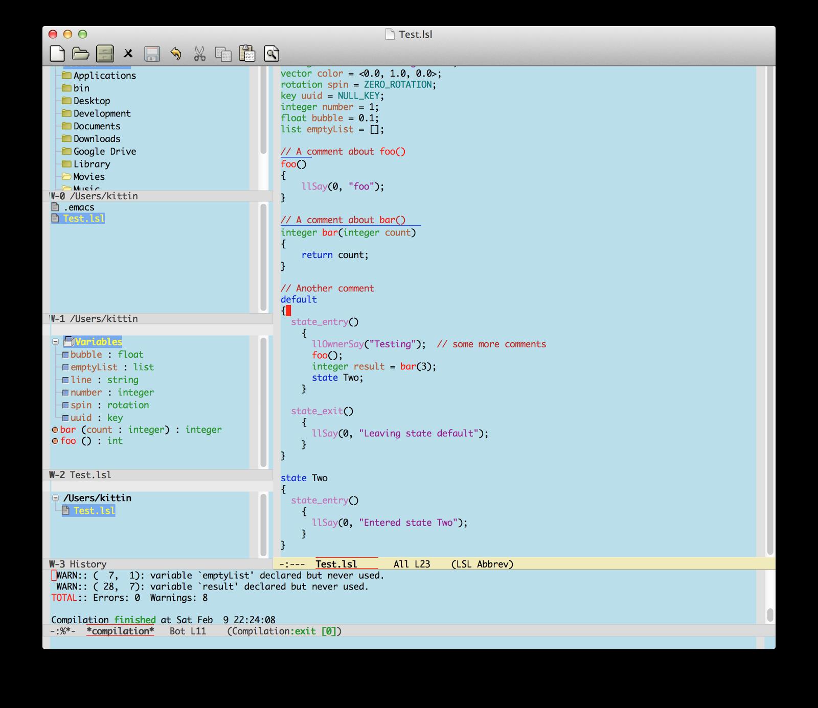 Kittin Ninetails: Writing LSL in Emacs