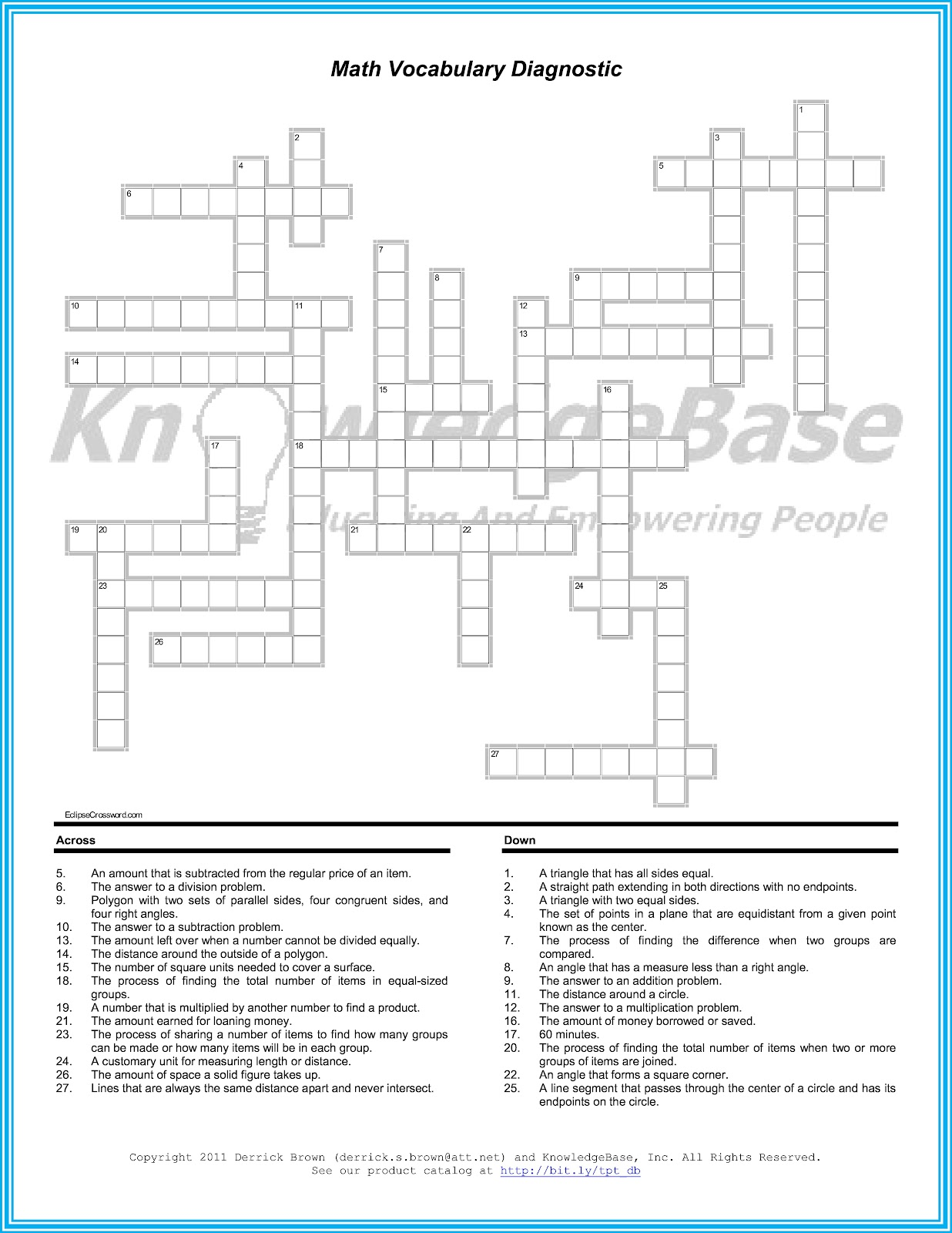 Big Ideas About Math Education Crossword Puzzle Vocabulary Diagnostic