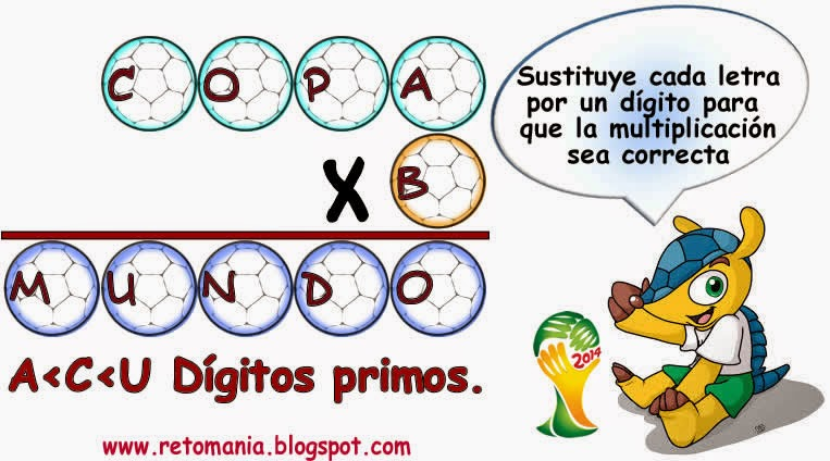 Criptoaritmética, Alfamética, Retos matemáticos, Desafíos matemáticos, Problemas matemáticos, Problemas de lógica, Descubre el número, Mundial de fútbol, Retos mundialistas