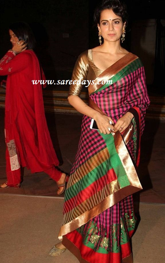 Latest saree designs kangana ranaut in multiclour silk saree checkout kangana ranaut in multiclour silk saree with green and gold border and paired with gold half sleeves designer blouse altavistaventures Image collections