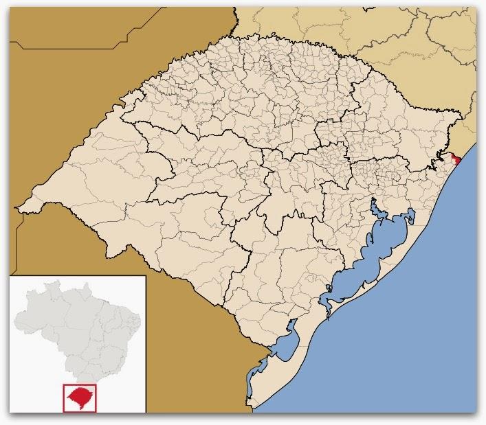 Cidade de Torres, no mapa do Rio Grande do Sul