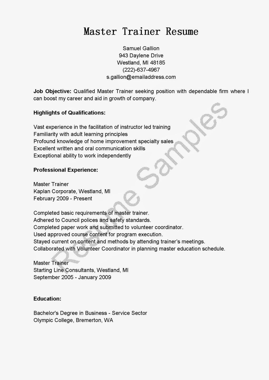 resume samples  master trainer resume sample