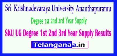 SKU UG Sri Krishnadevaraya University Degree 1st 2nd 3rd Year Supply Results