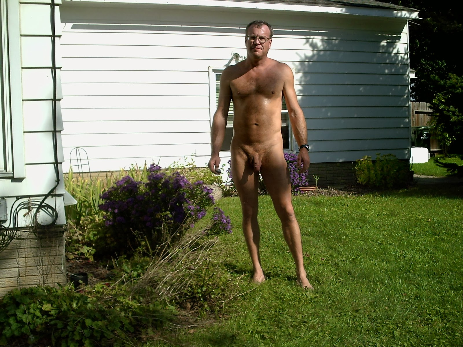 yard Naked nude back