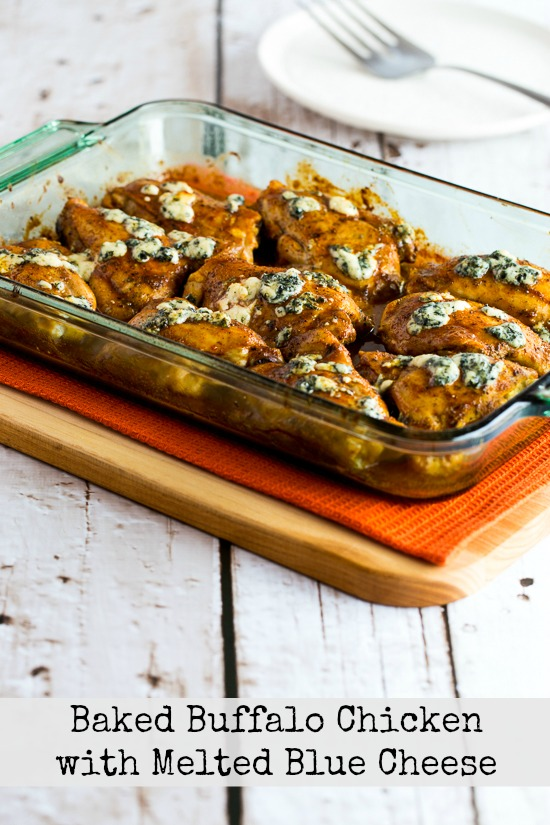 Baked Buffalo Chicken with Melted Blue Cheese  found on KalynsKitchen.com