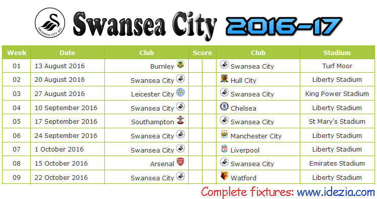 Download Jadwal Swansea City AFC 2016-2017 File JPG - Download Kalender Lengkap Pertandingan Swansea City AFC 2016-2017 File JPG - Download Swansea City AFC Schedule Full Fixture File JPG - Schedule with Score Coloumn