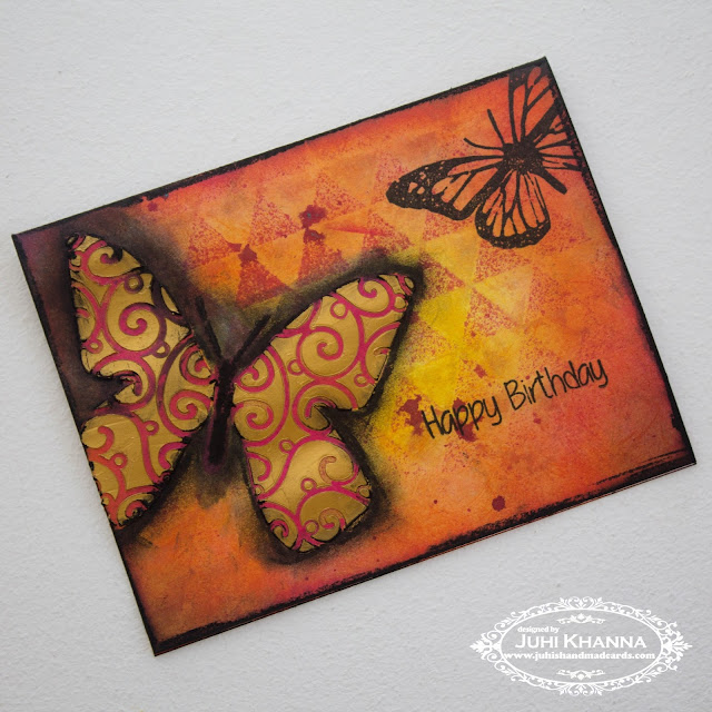 Mixed Media Card with Crafter's Workshop stencils and Happy Little Stampers stamps