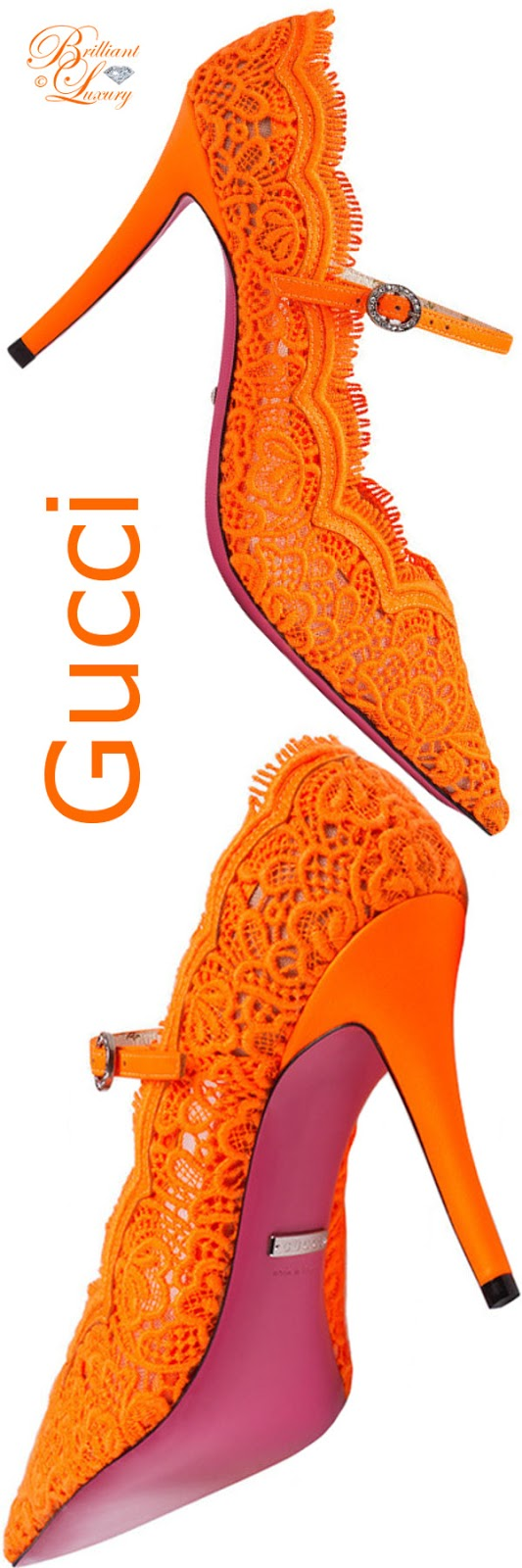 Brilliant Luxury ♦ Gucci Virginia lace pumps #orange