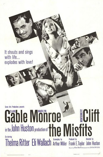 This exquisite black and white poster depicts the main idea of the misfits the final film for both marilyn monroe and clark gable which tells the story