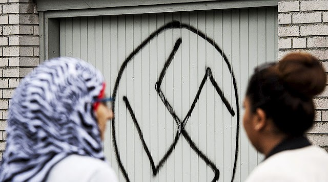 Details Of Desecrated Stockholm Mosque  By Swastikas And Anti-Muslim Slogans