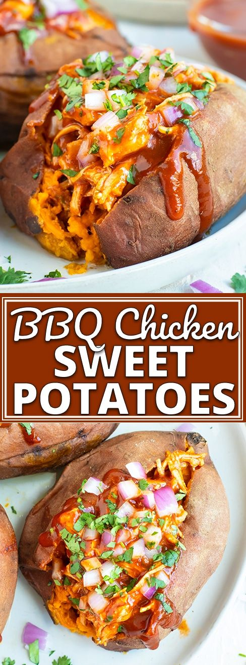 BBQ Chicken Stuffed Sweet Potatoes #BBQ #Chicken #Stuffed #Sweet #Potatoes #Dinner #Healthyrecipe #Healthydinner