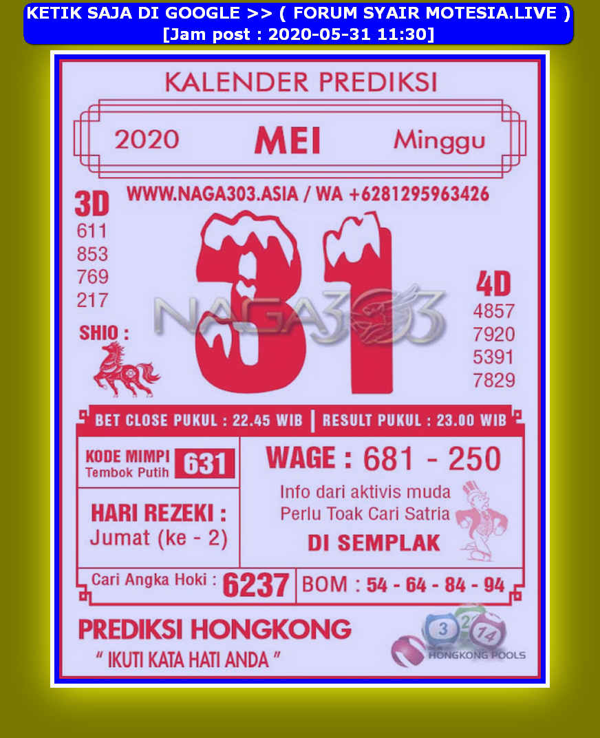 Kode syair Hongkong Minggu 31 Mei 2020 282