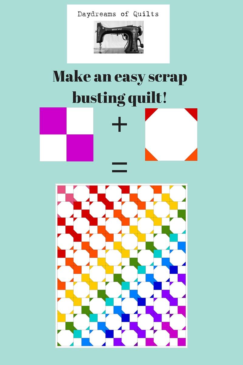 Make An Easy Rainbow Scrap Busting Quilt Free Tutorial Daydreams